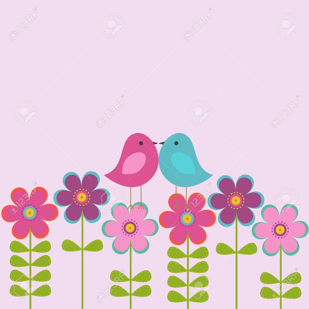 Vector Postkarte Rahmen Auf Das Romantische Thema. Liebe Vögel ...