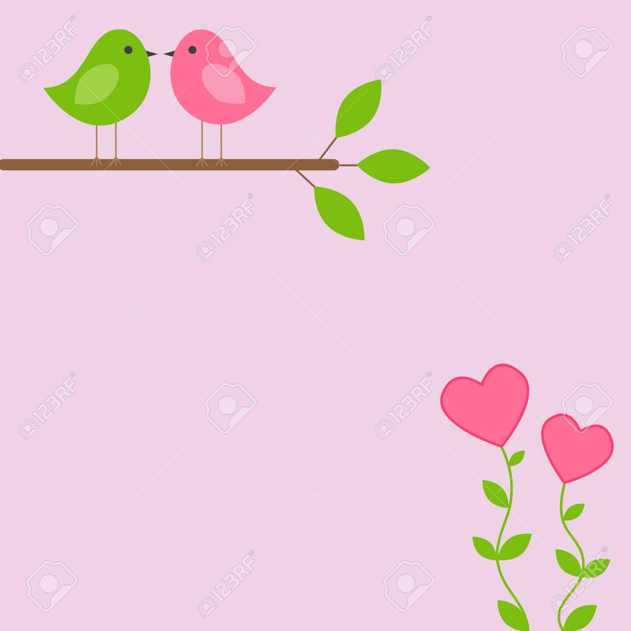 Tarjeta De Marco De Vector Para El Tema De Primavera. Amor Pájaros ...