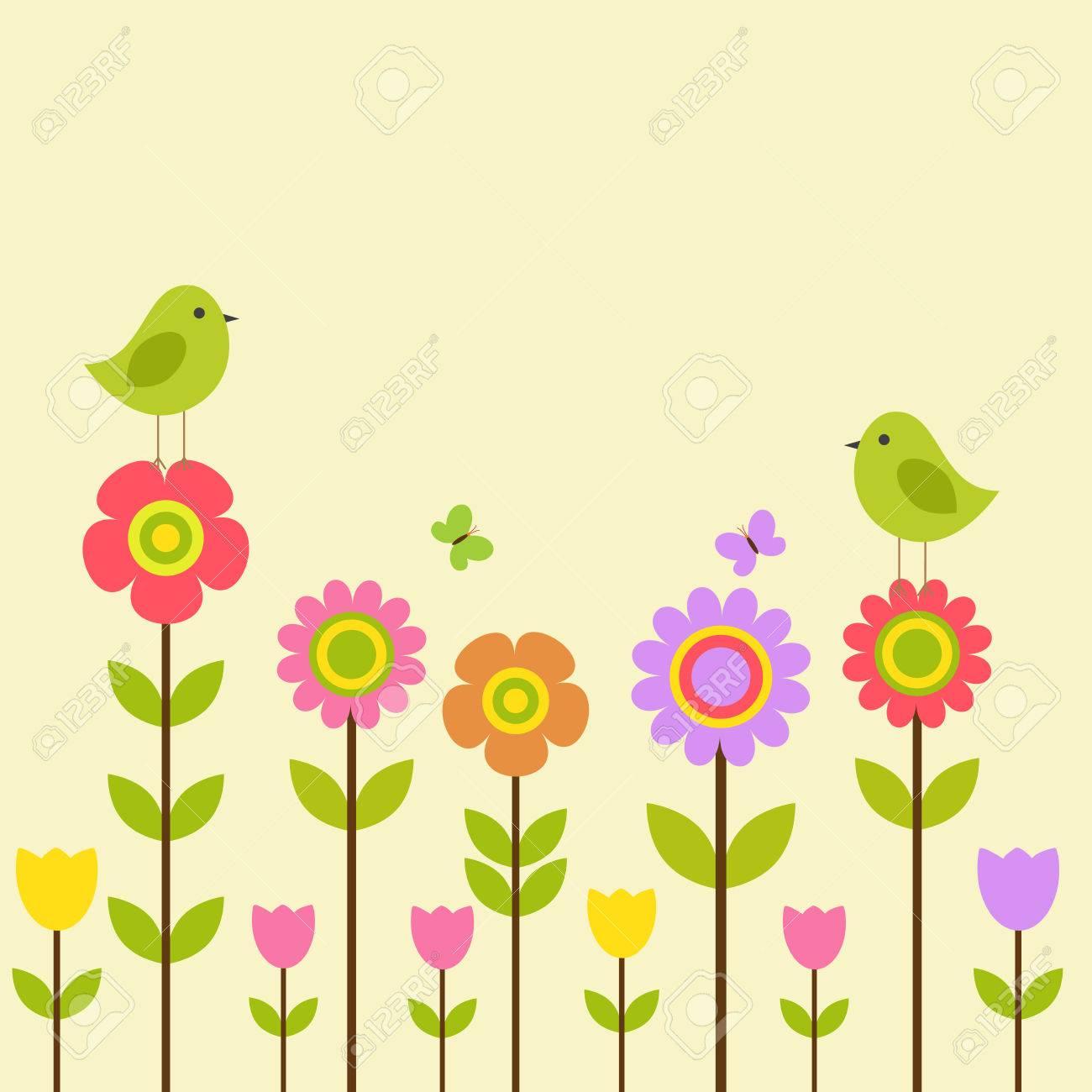 Vector Postkarte Rahmen Auf Dem Frühling-Sommer-Thema. Vögel Unter ...