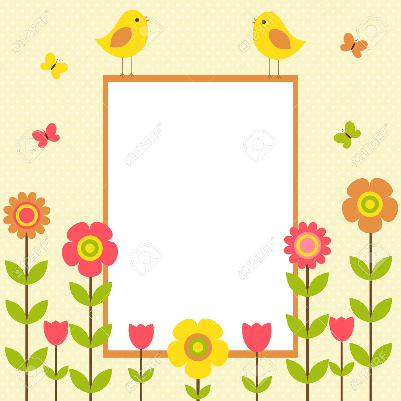 Vector Postcard Frame On The Spring-summer Theme. Birds Sitting ...
