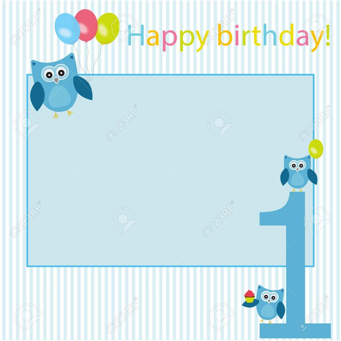 Marco Del Vector, Postal, Para Celebrar El Primer Cumpleaños Del ...