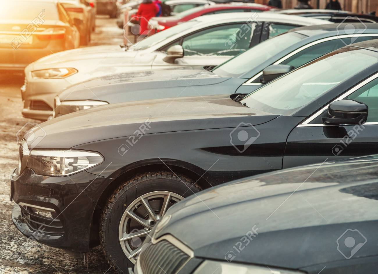 3c04aeac59 Parking used cars in winter in Europe Stock Photo - 93744042