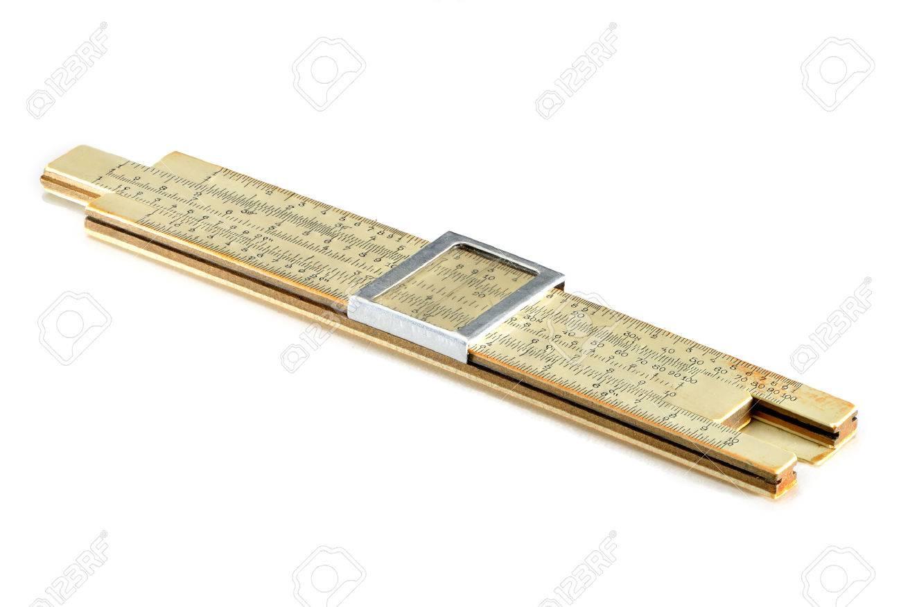 Old Soviet-made pocket slide rule mechanical calculator isolated on white Standard-Bild - 27560510