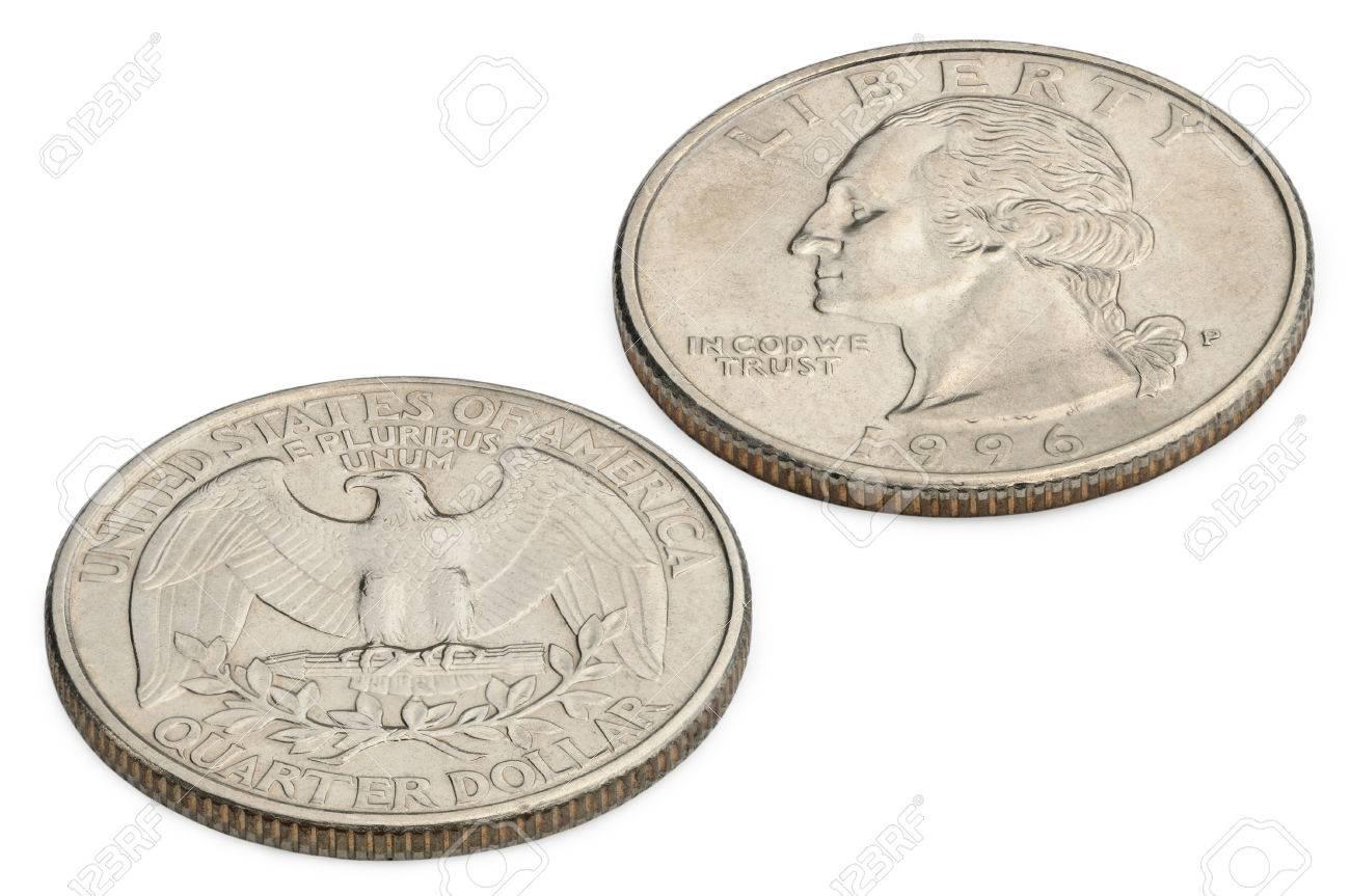 U S  twenty five cents coin isolated on white background  macro shooting Standard-Bild - 29672516