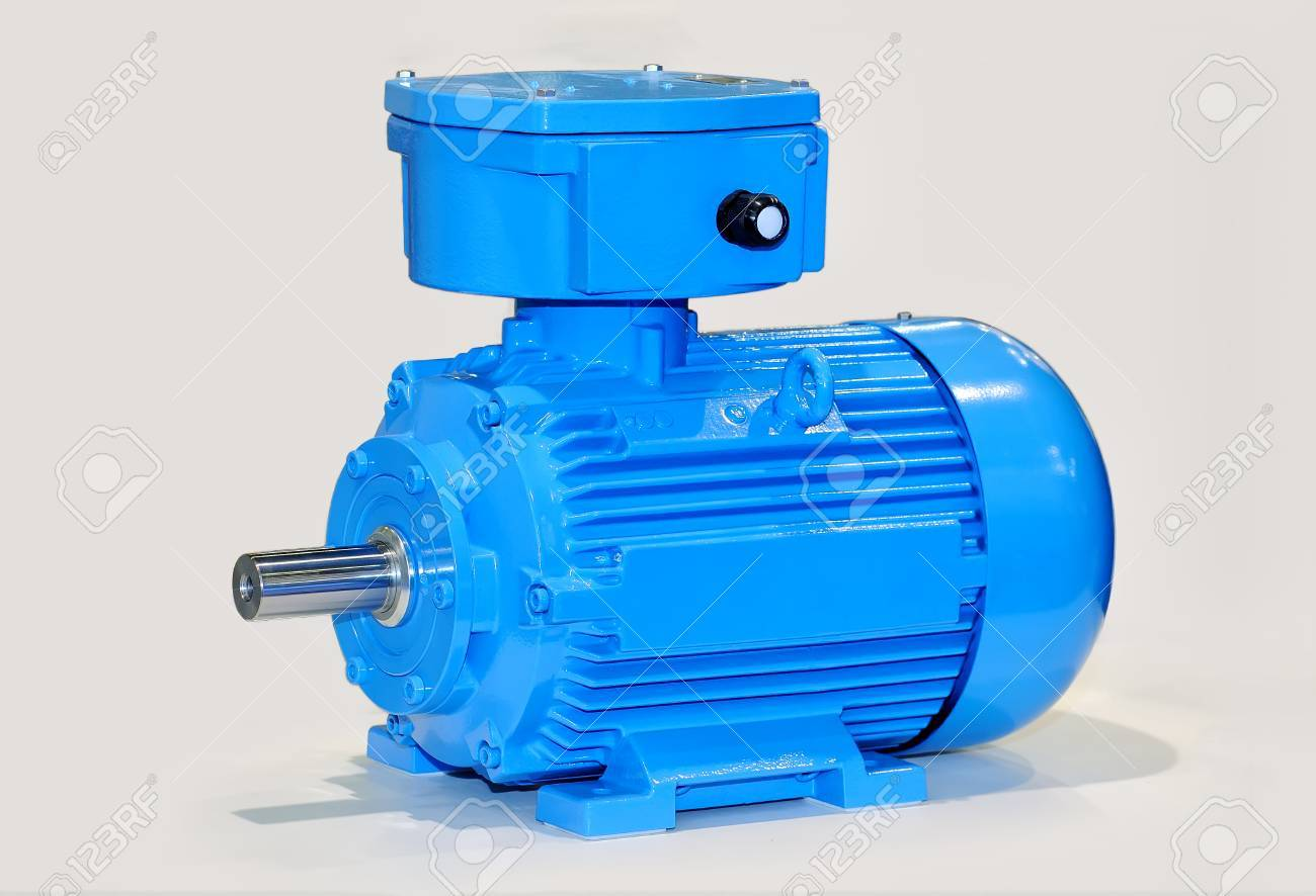 New blue electric motor isolated on gray background. Standard-Bild - 85159767