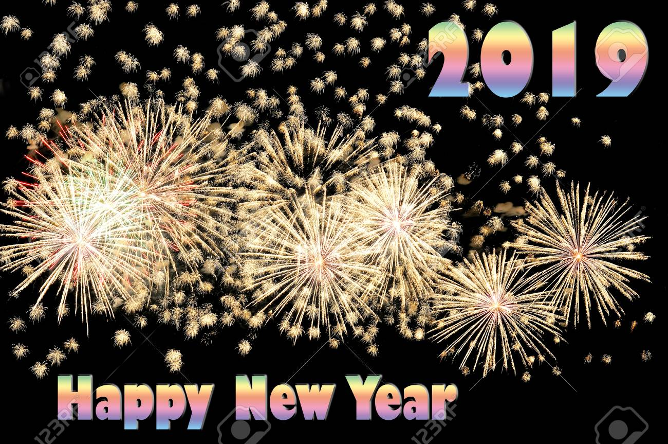 Happy new year 2019 - color text and flash of white festive fireworks