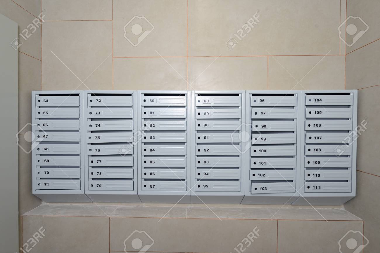 A lot of new mailboxes are still without locks in an apartment..