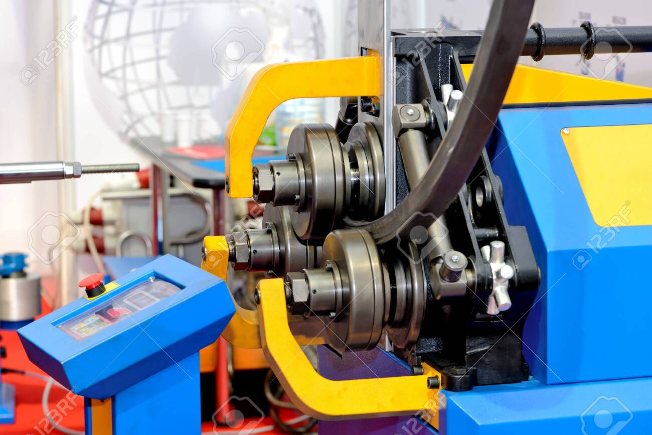 Industrial machine for bending steel pipes and metal rods. Pipe bending machine - 144319115