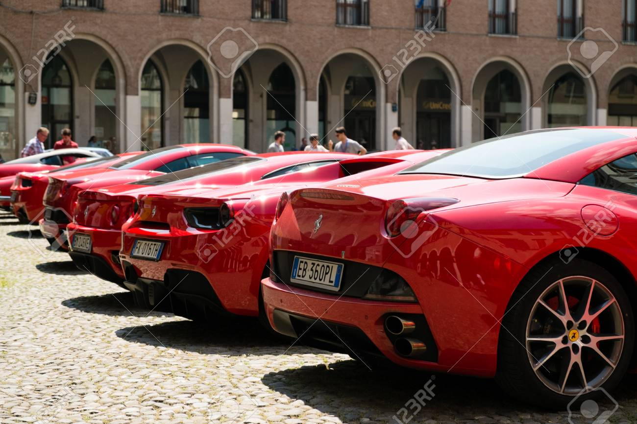Modena Italy June 2018 Rear View Of Recent And Vintage Ferrari