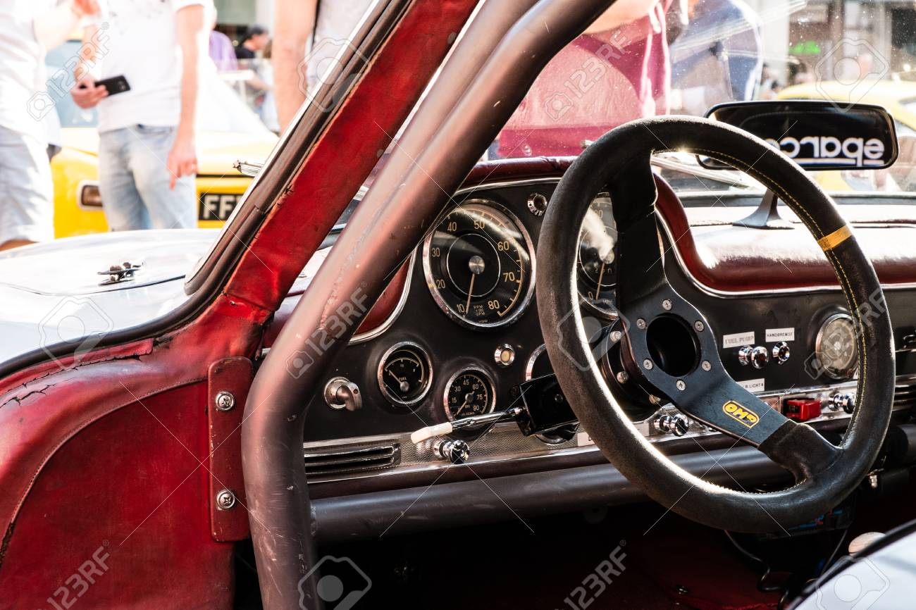 MODENA, ITALY - June, 2018  Cockpit of a 1960s racing car