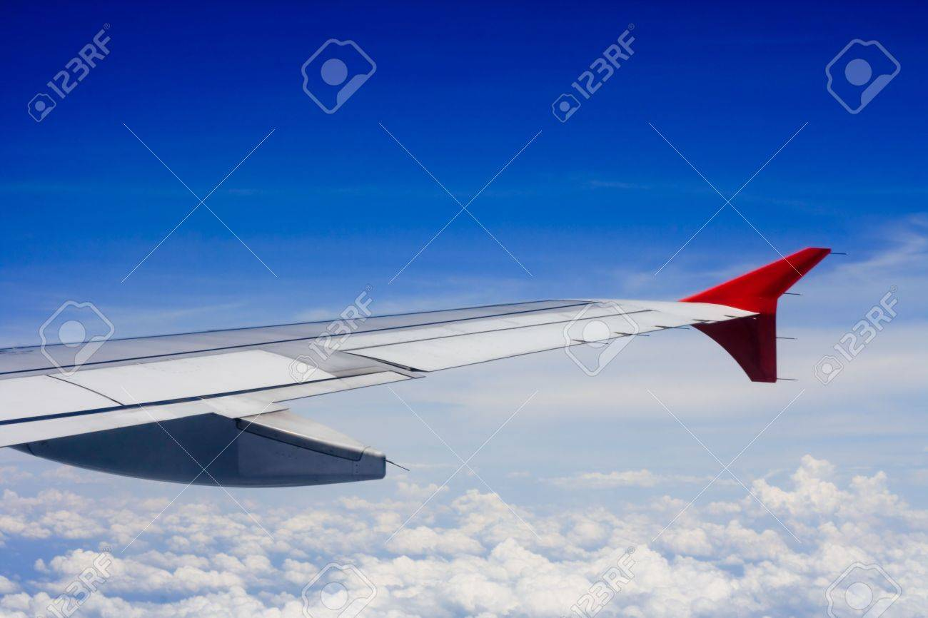 View of wing of plane in the sky Stock Photo - 4985672
