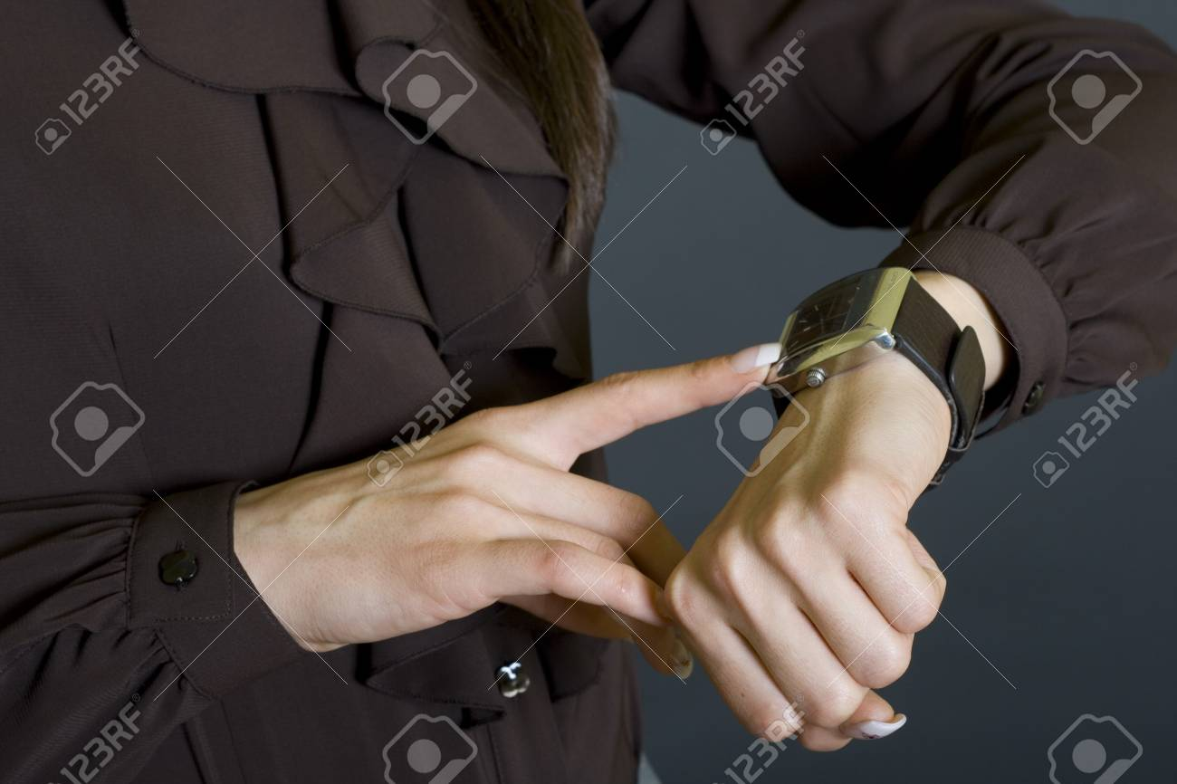 businesswoman checking time Stock Photo - 4191453