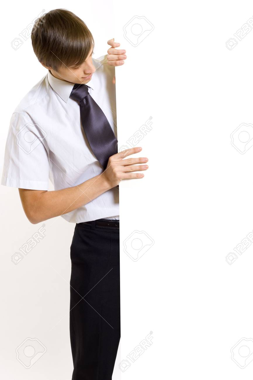 Business man showing a blank board Stock Photo - 4674952