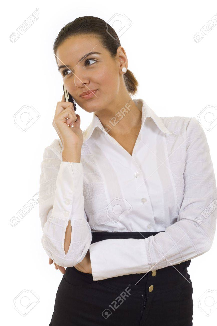 Portrait of a beautiful businesswpman with her phone. Isolated on white background Stock Photo - 5641223