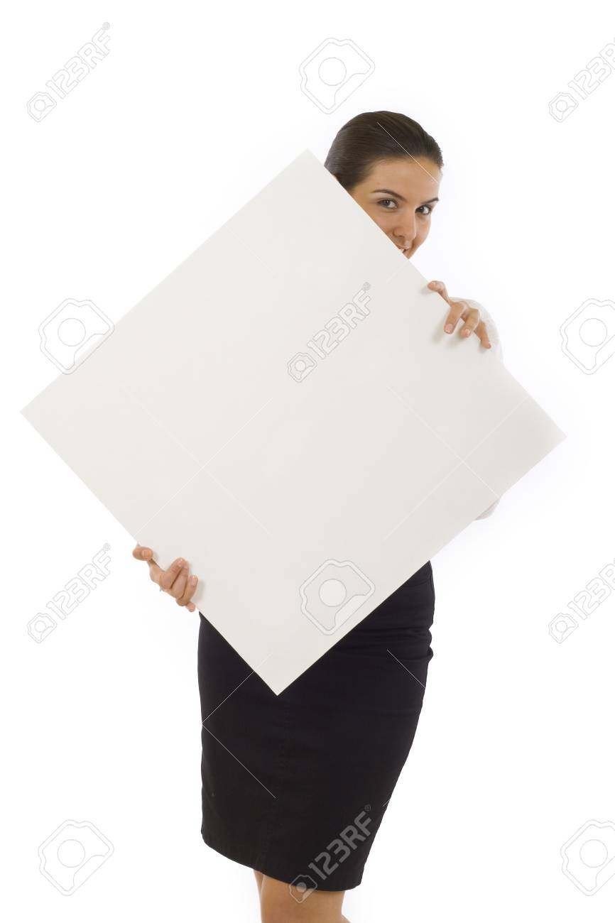 picture of a young businesswoman holding a blank board Stock Photo - 5641192