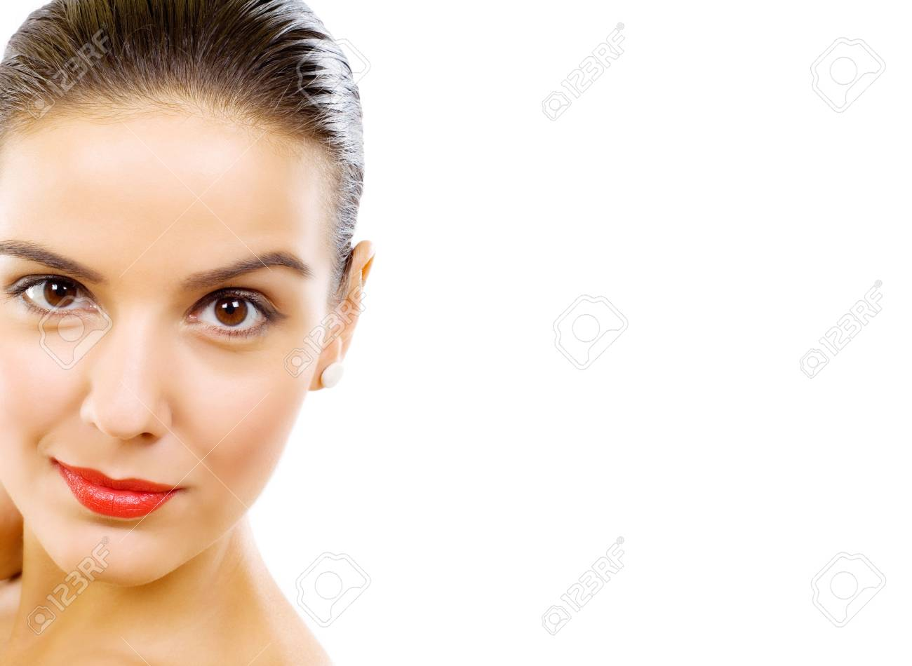 Cropped image of beautiful young woman over white background Stock Photo - 5641330
