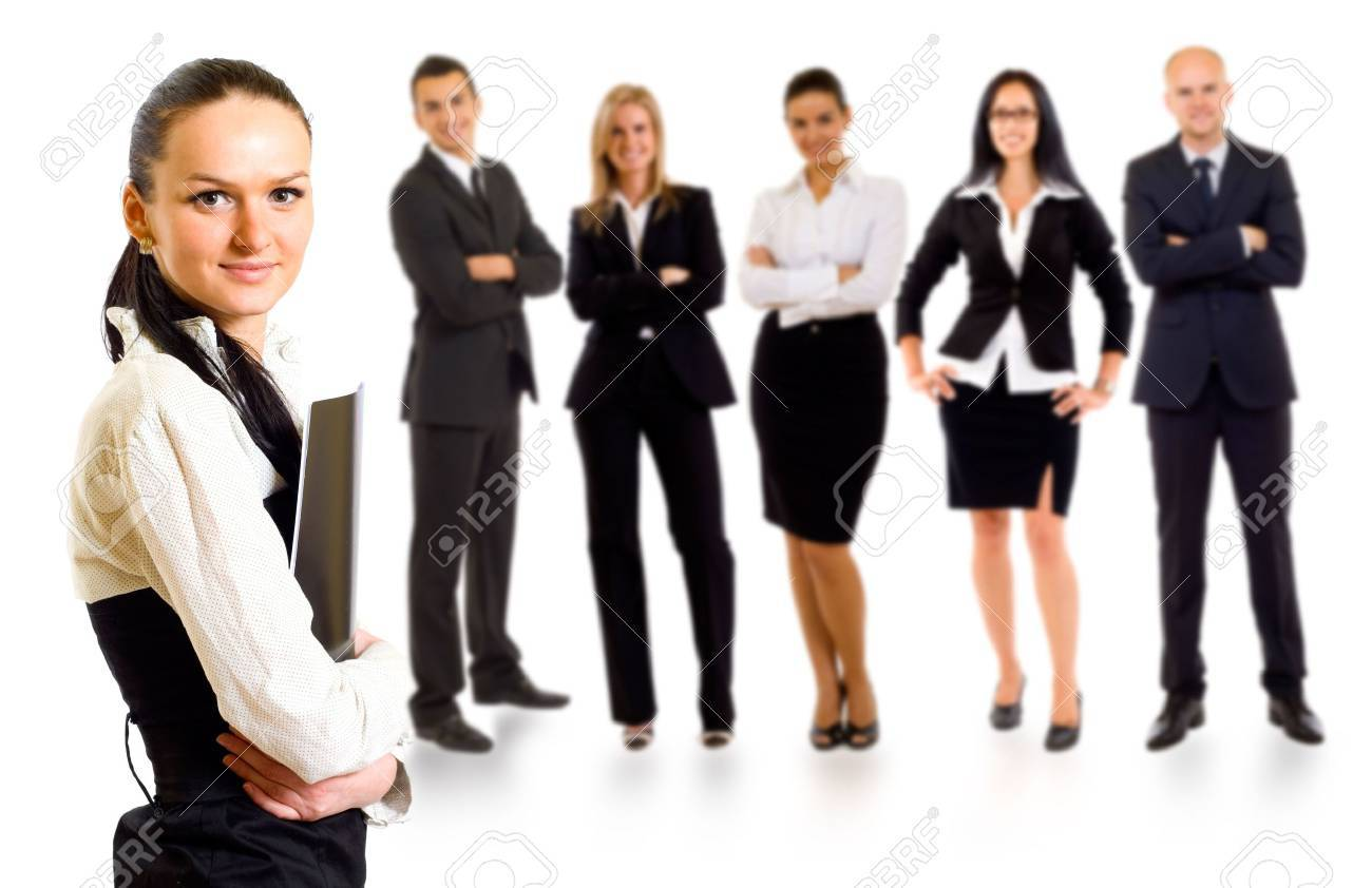 Business team with a businesswoman leader holding a folder Stock Photo - 5841891