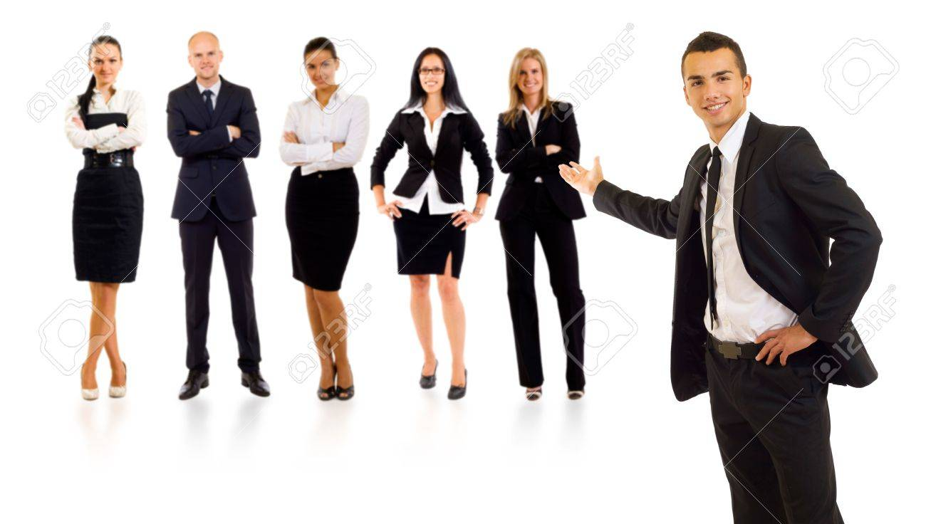 businessman presenting his team isolated over a white background Stock Photo - 5842001