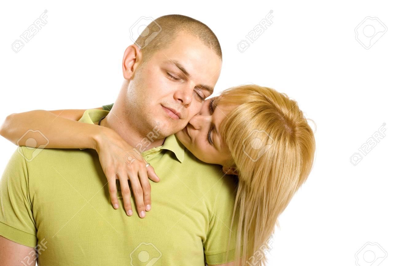 Beautiful blond woman portrait close up kissing man Stock Photo - 6185323