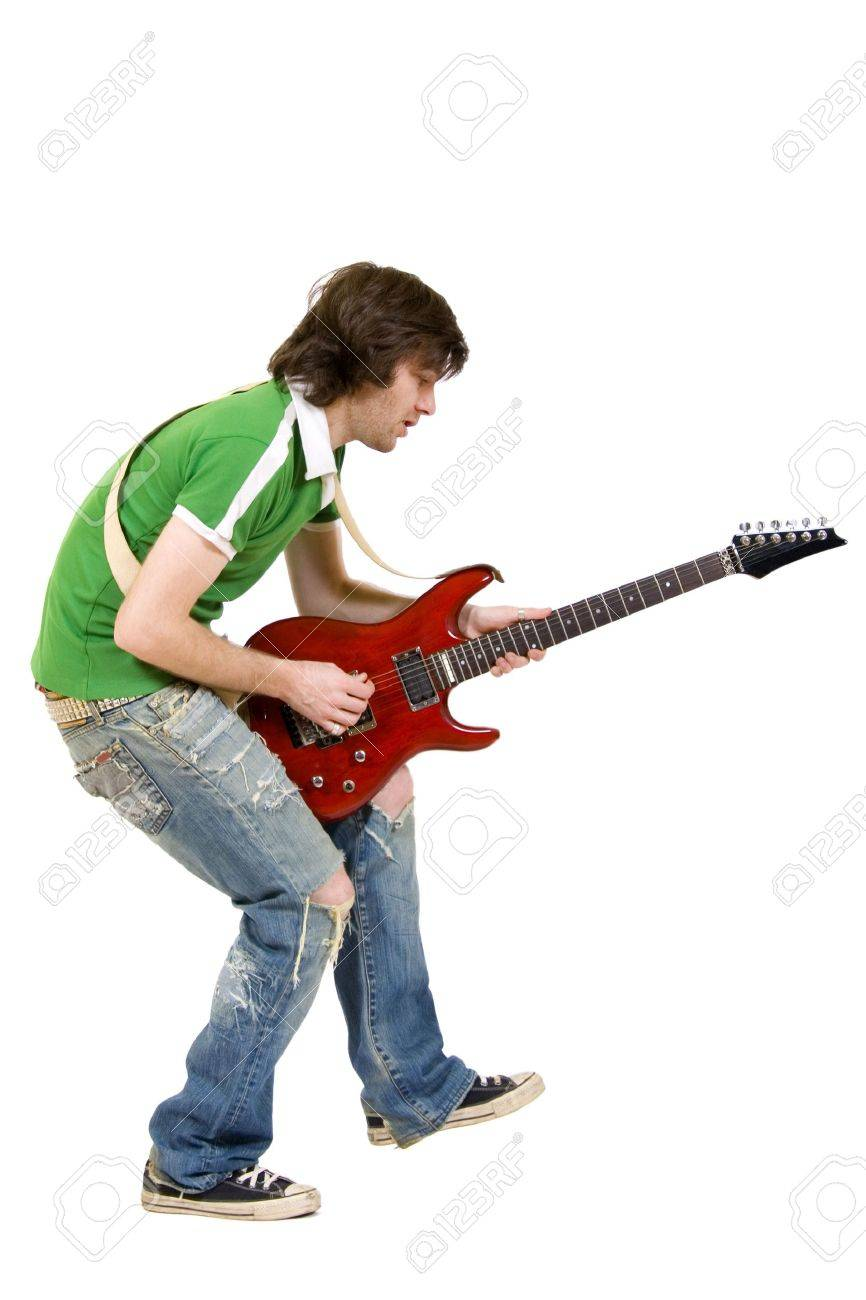 picture of a passionate guitarist playing an electric guitar over white Stock Photo - 6393956