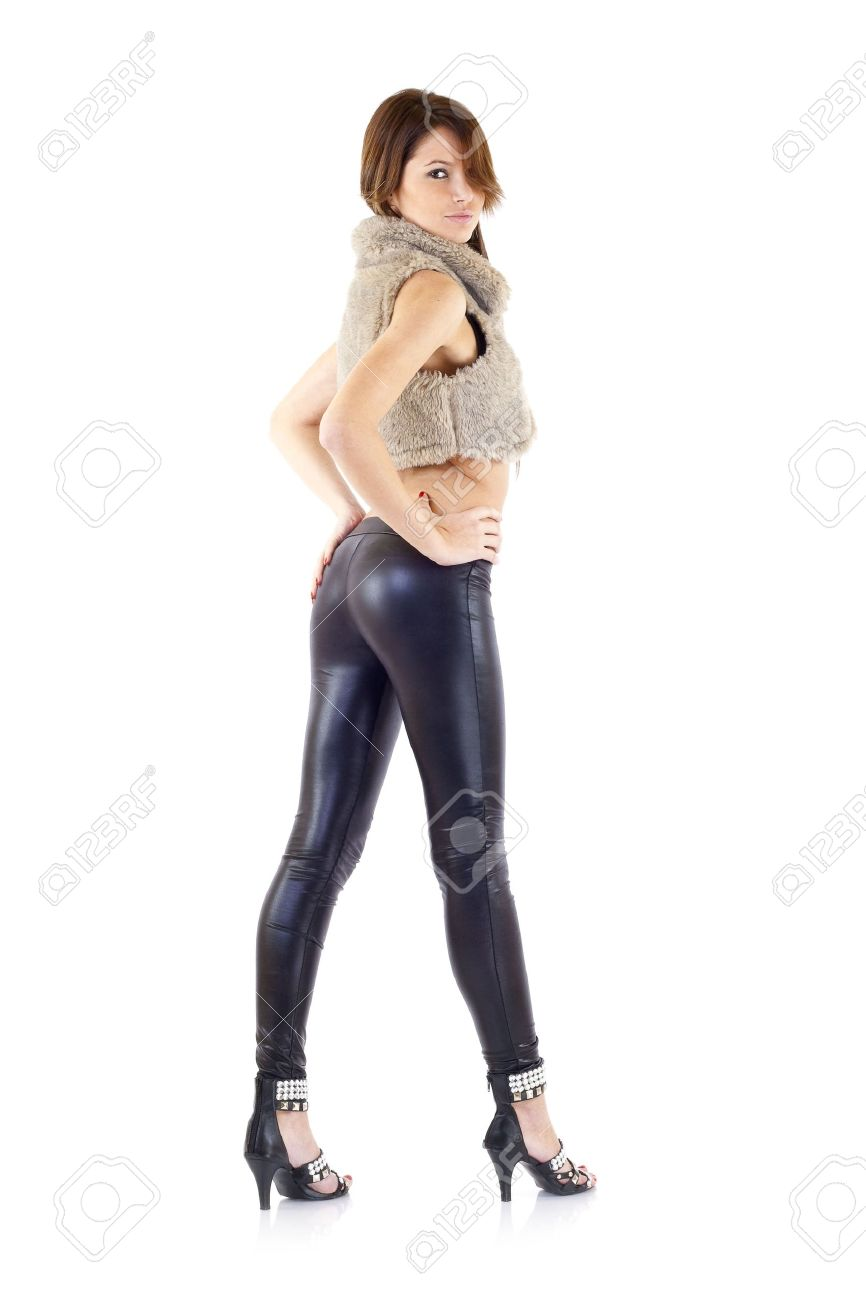 4da0f8146 Portrait of sexy slim girl wearing leather pants Stock Photo - 6661815