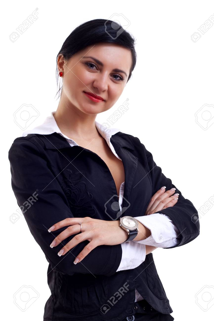 Happy young businesswoman posing isolated on white background Stock Photo - 6912722