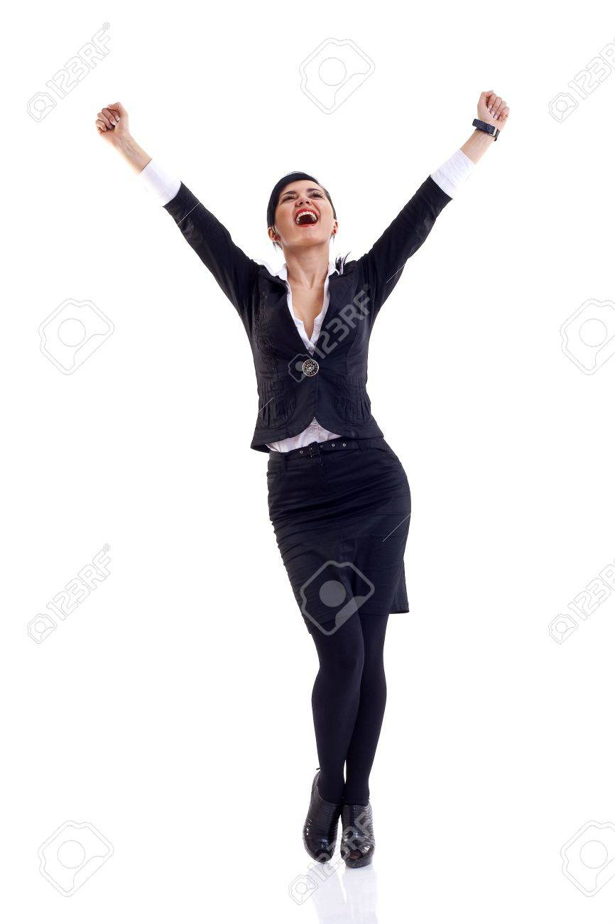 picture of a very happy businesswoman winning over white Stock Photo - 6912056