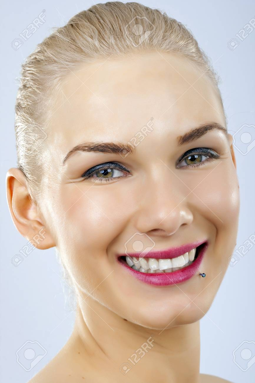 Close up of beautiful woman smiling face Stock Photo - 6970089