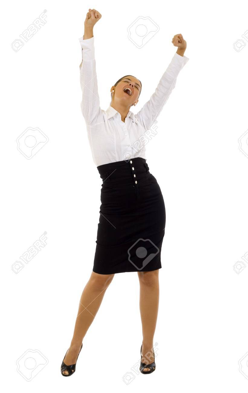 Pretty joyous business woman celebrating success over white background Stock Photo - 7131871