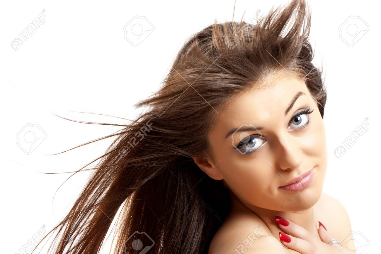 young beautiful female portrait with long hair over white Stock Photo - 7132208