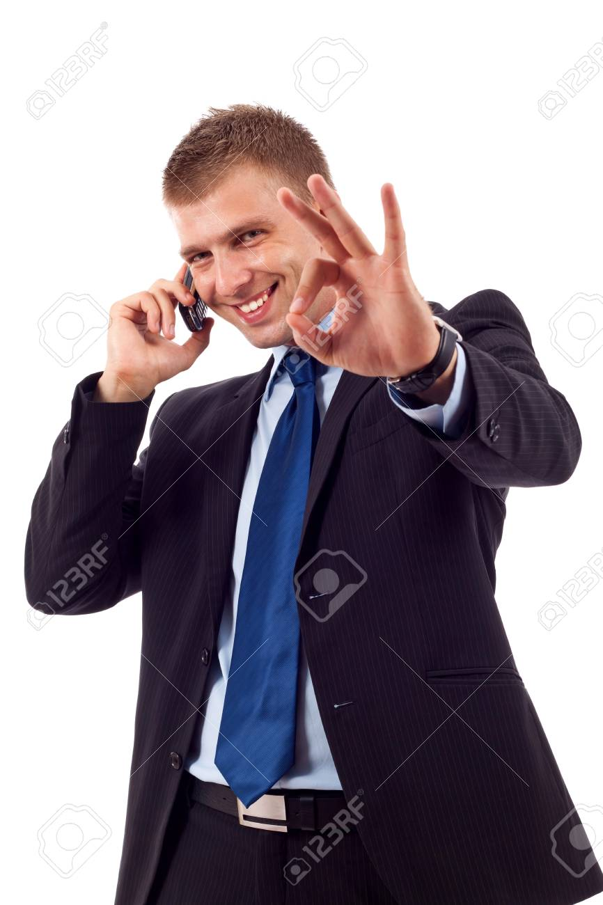 businessman on the phone approving the good news Stock Photo - 7222815