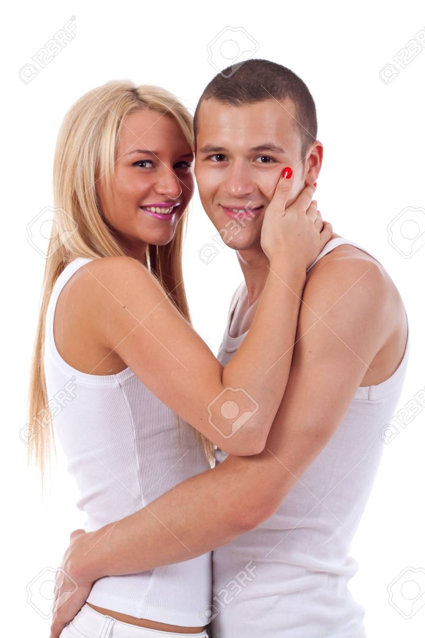 Happy young couple in casual clothing, white background Stock Photo - 7226858