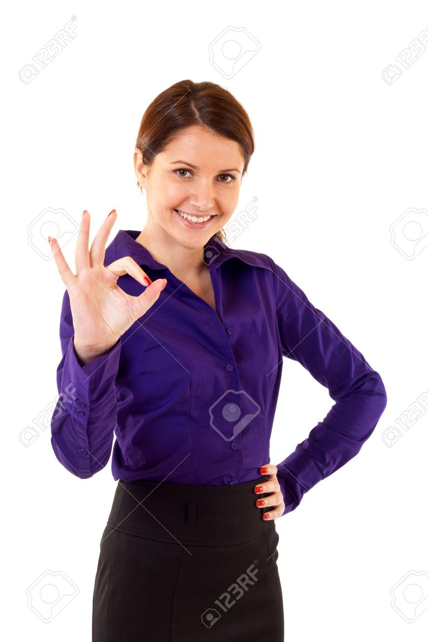 Attractive businesswoman satisfied with results - ok sign over white Stock Photo - 7226608