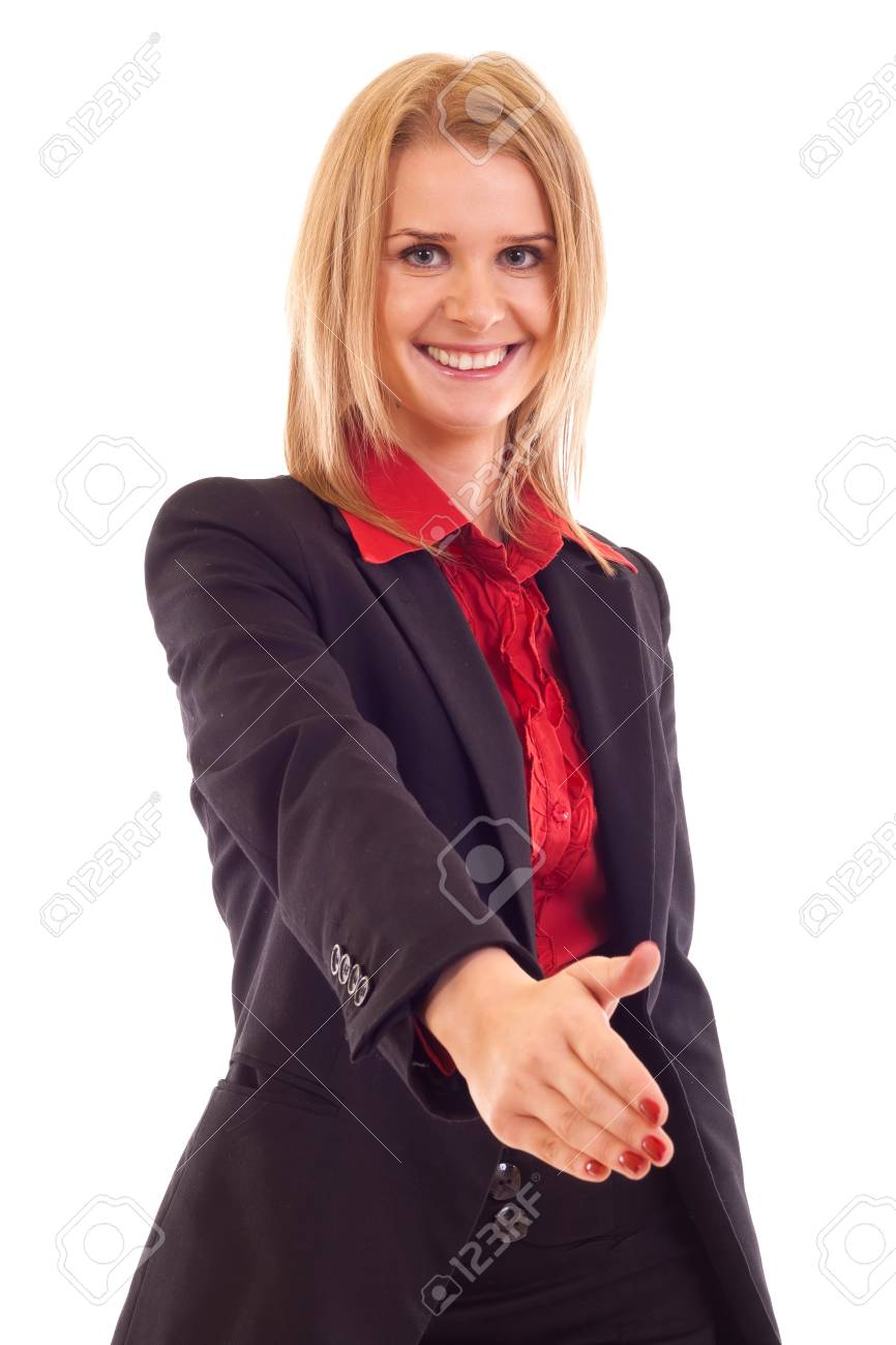Business woman giving hand for handshake, isolated on white Stock Photo - 7354389