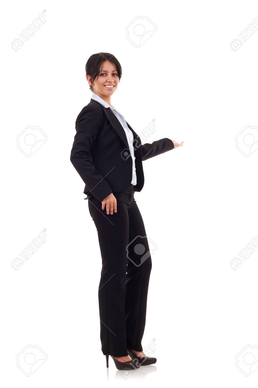 Smiling business woman presenting. Isolated over white background Stock Photo - 7735654