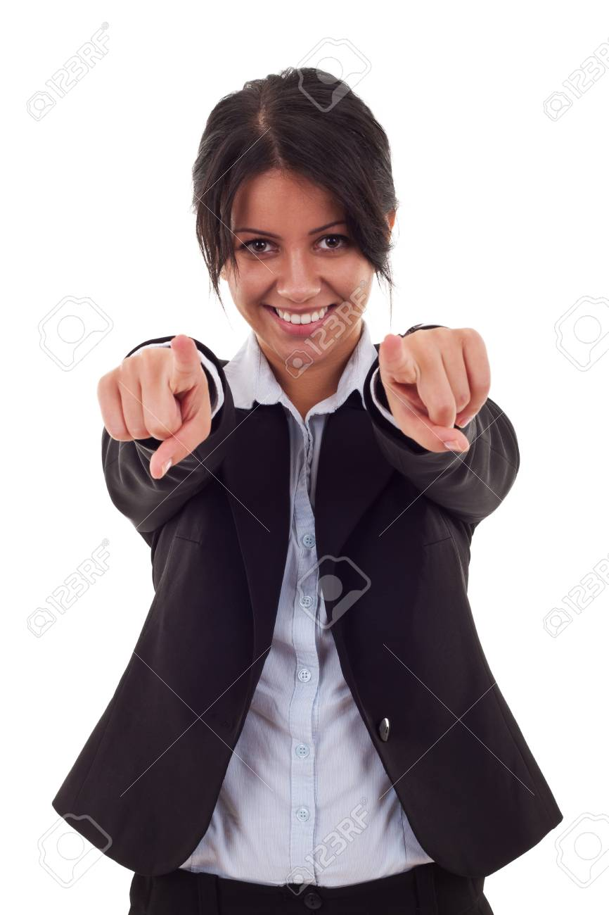 young beautiful business woman pointing on you on white background Stock Photo - 7735860