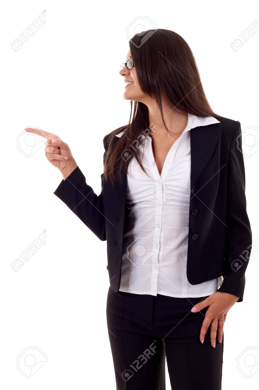 picture of a business woman pointing to her side over white Stock Photo - 7870368