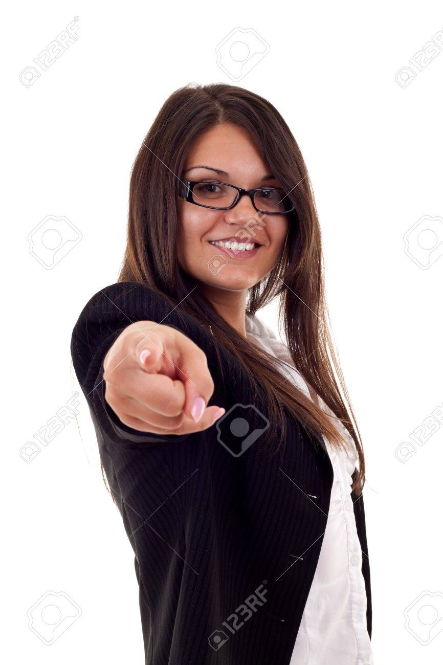 young beautiful business woman pointing on you on white background Stock Photo - 7870415