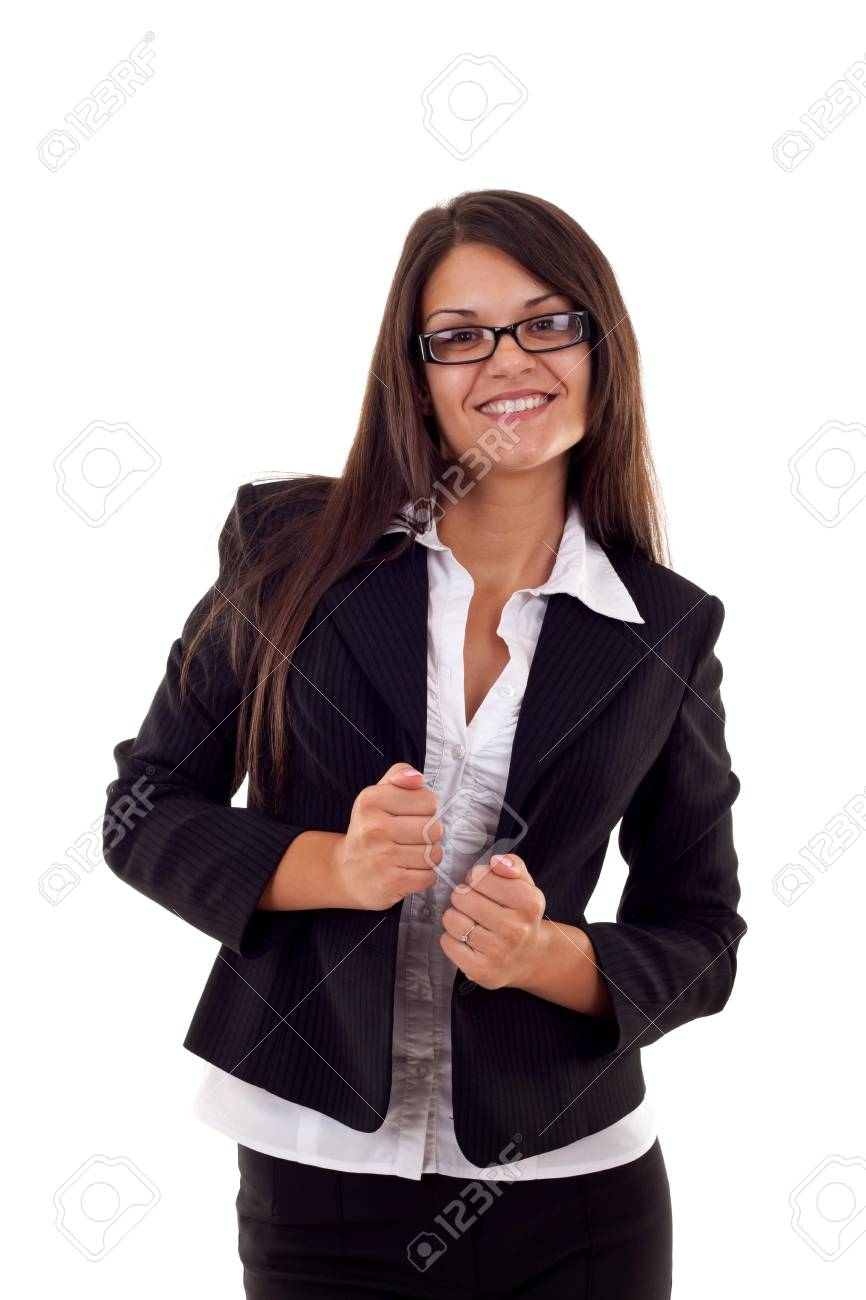 business woman portrait isolated over a white background Stock Photo - 7870377
