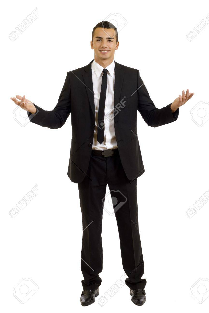 Approachable young business man with open arms isolated Stock Photo - 7870198
