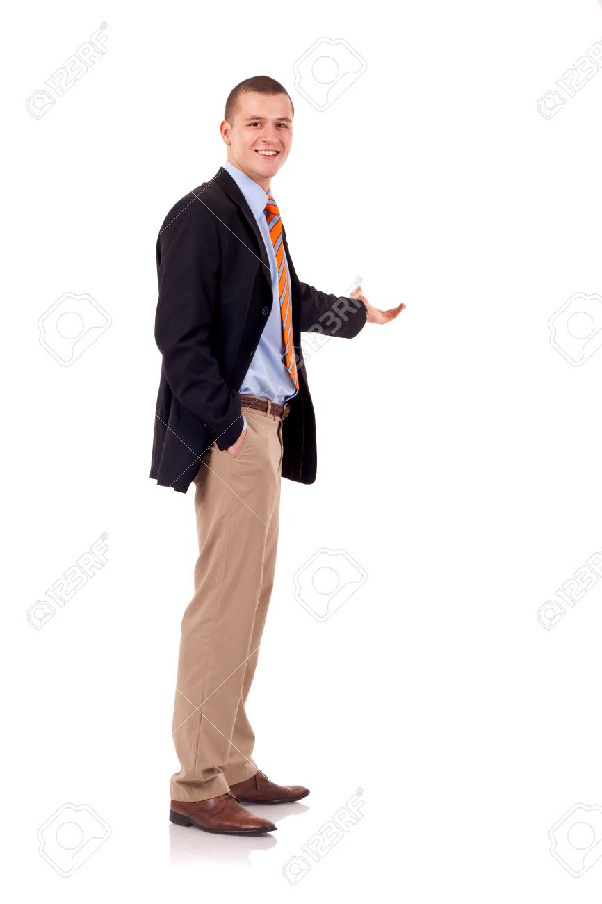 Happy business man presenting and showing with copy space for your text isolated on white background Stock Photo - 7939007