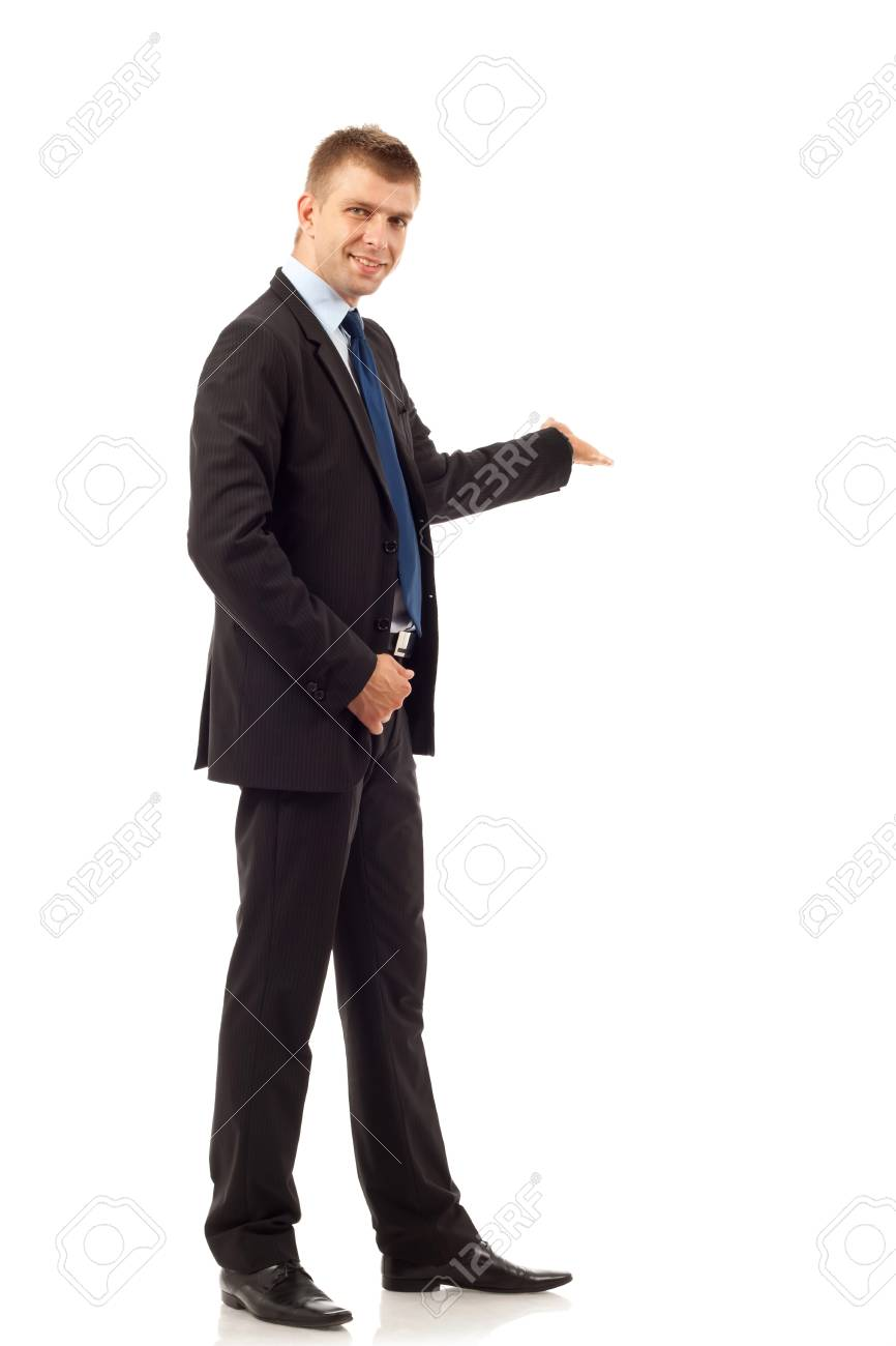Happy business man presenting and showing with copy space for your text isolated on white background Stock Photo - 8043114