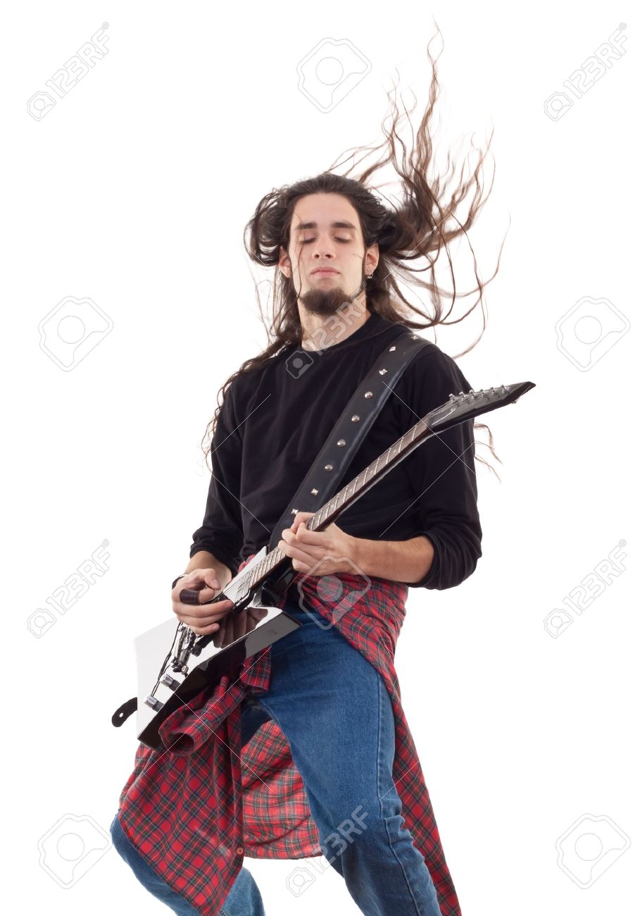 Hard Rock male Heavy Metal Guitarist playing black electric guitar  concert Stock Photo - 8043147