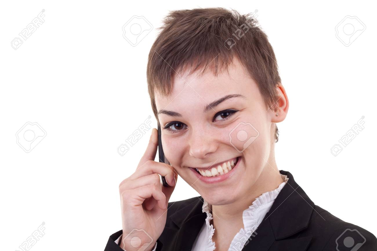 beautiful business woman on the phone smiling Stock Photo - 8043265