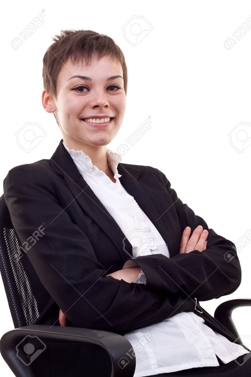 business woman sitting on office chair , over white Stock Photo - 8043288