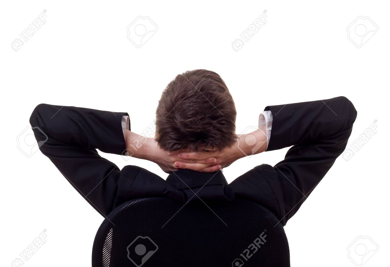 Satisfied business woman with hands crossed behind her head Stock Photo - 8043195