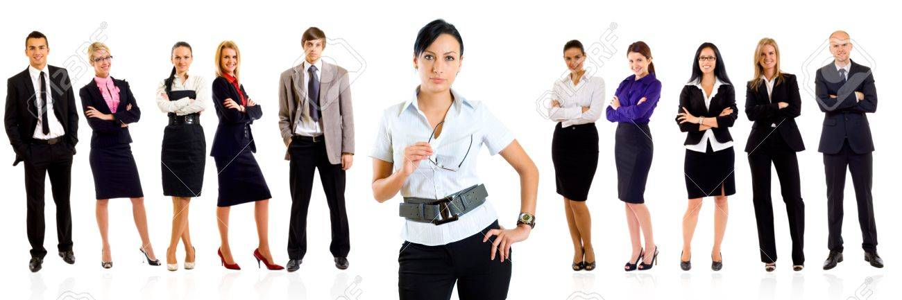 business woman smiling with a team behind her - isolated over a white background Stock Photo - 8198549
