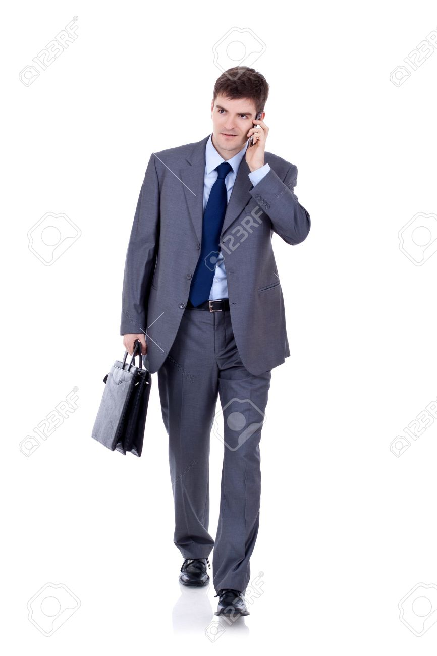 Business man Walking forward while talking on the phone over white Stock Photo - 9044420