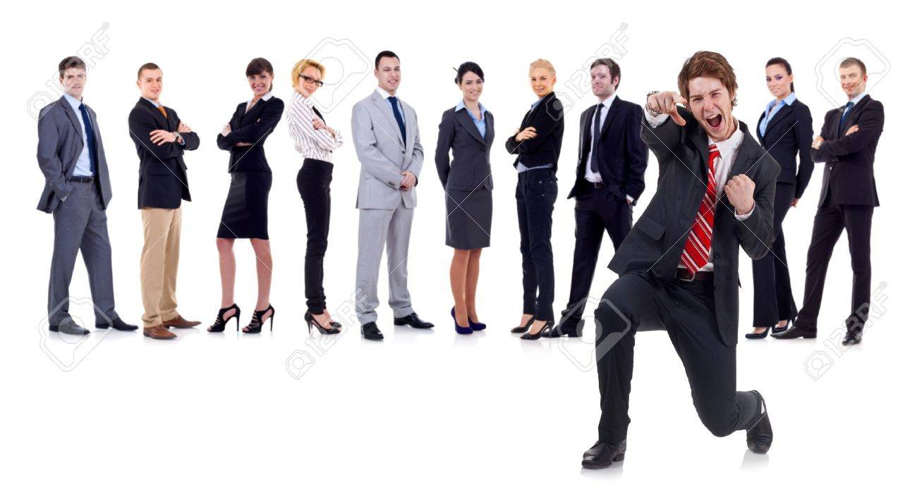 happy business man on an isolated white background with business team Stock Photo - 9525611