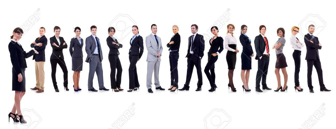 business leader presenting her successful business team - 9838728